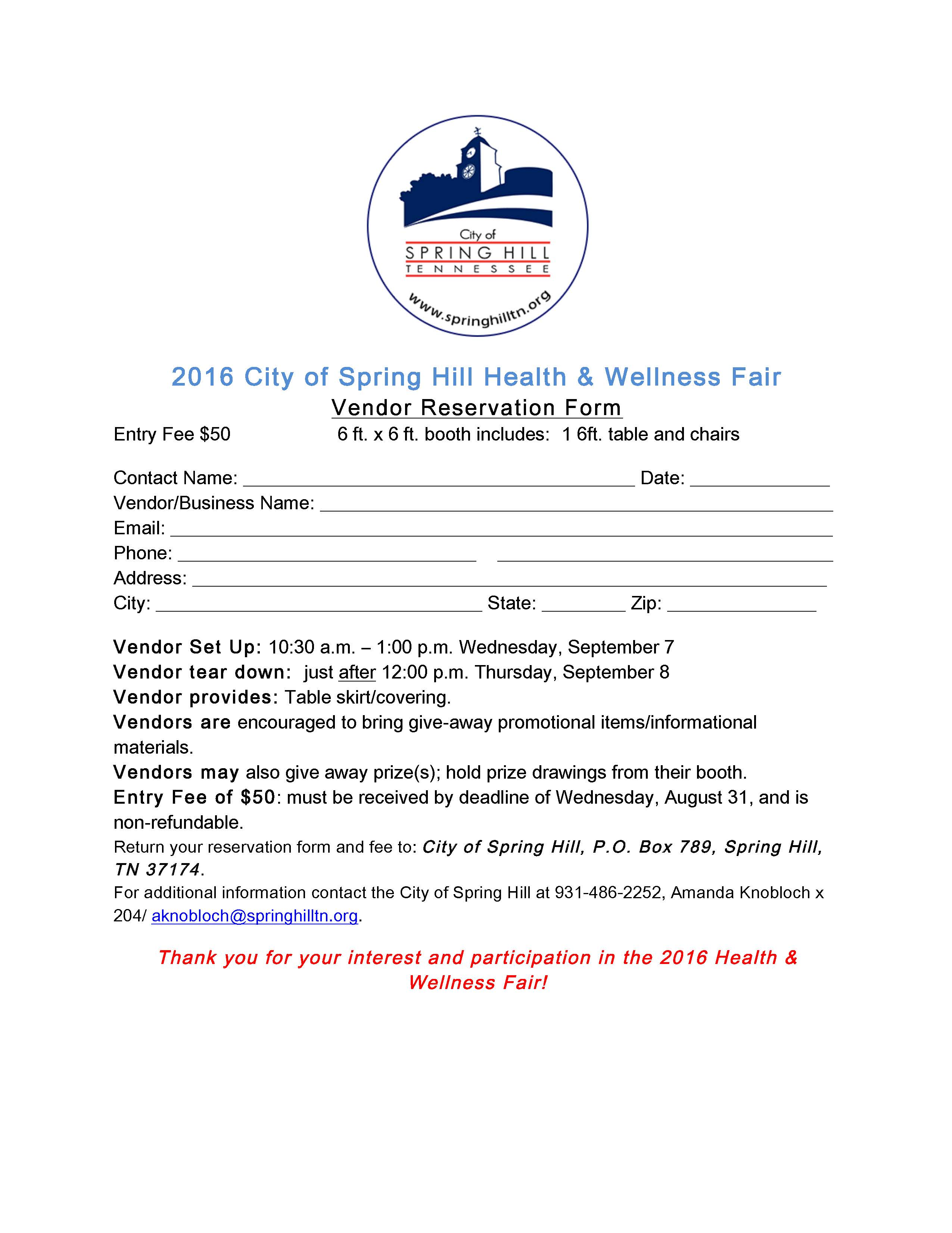 Health Fair vendor form