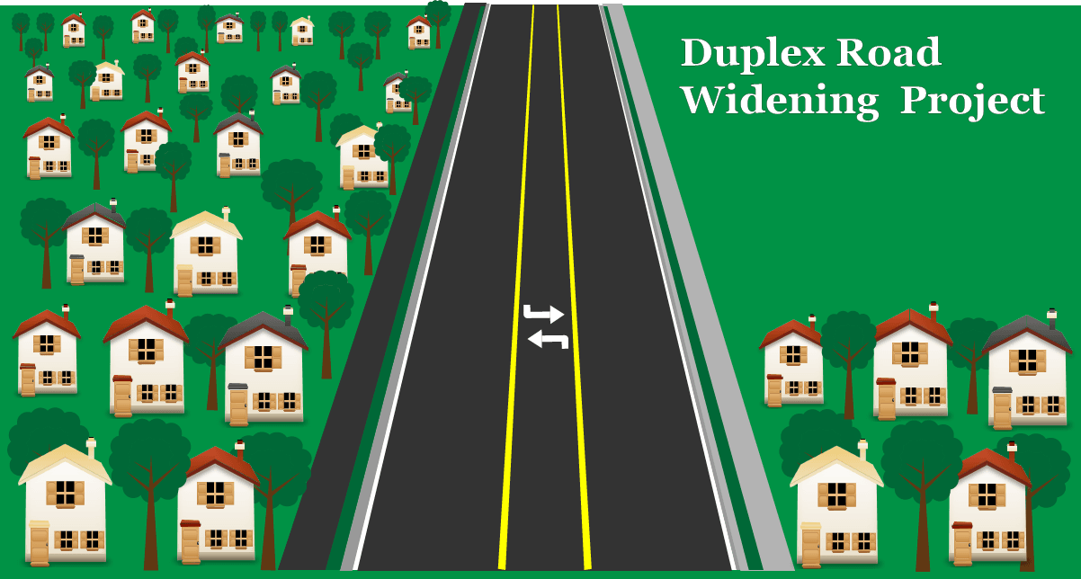 Duplex Road widening project graphic
