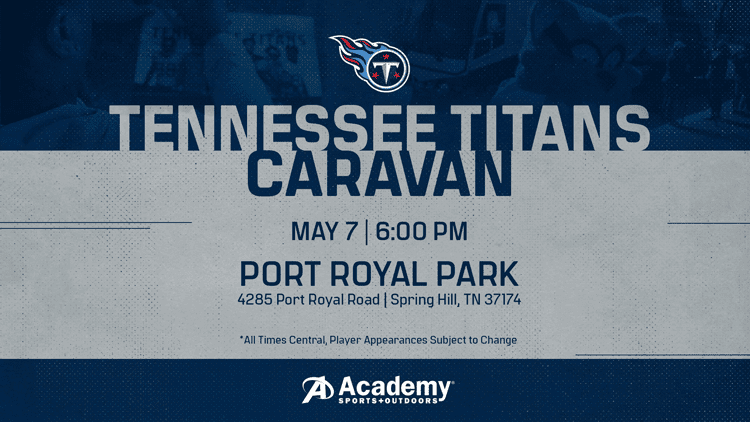 Graphic says the Titans Caravan is coming to Port Royal Park in Spring Hill