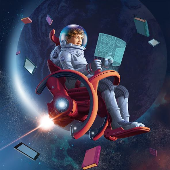 Boy in Space Chair