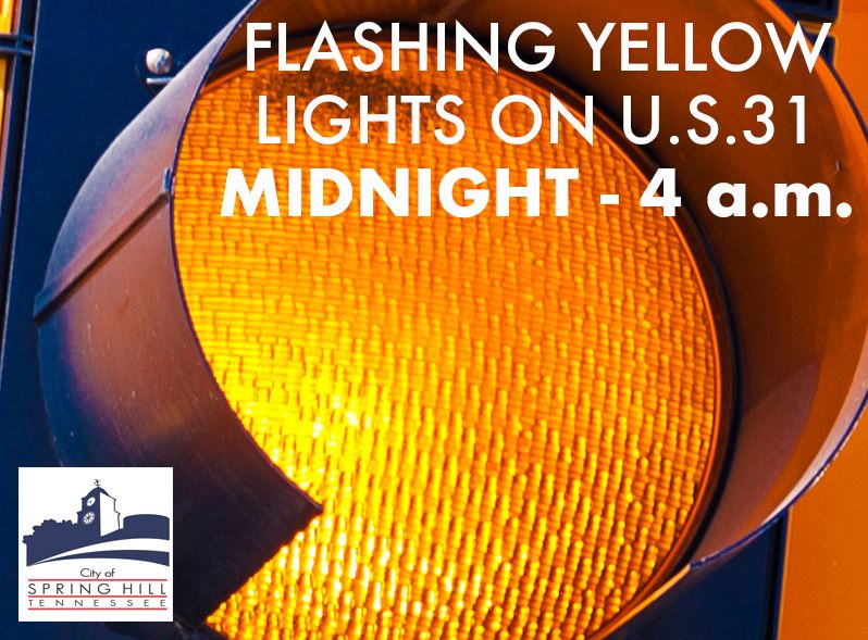Flashing Yellow Lights on Main Street between Midnight and 4 a.m.