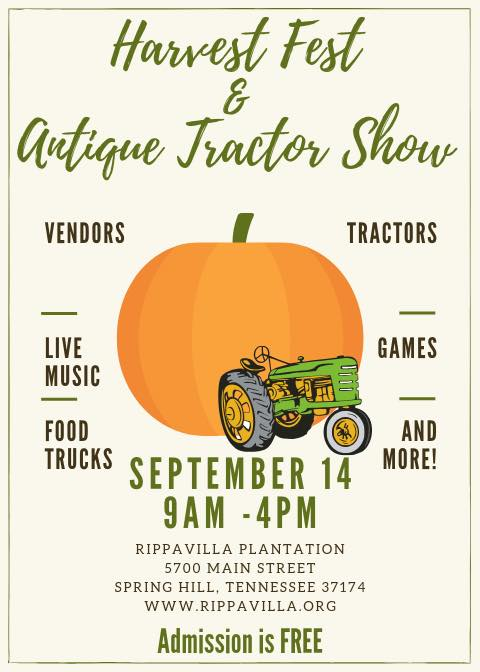 Harvest Festival and Antique Tractor and Car Show at Rippavilla