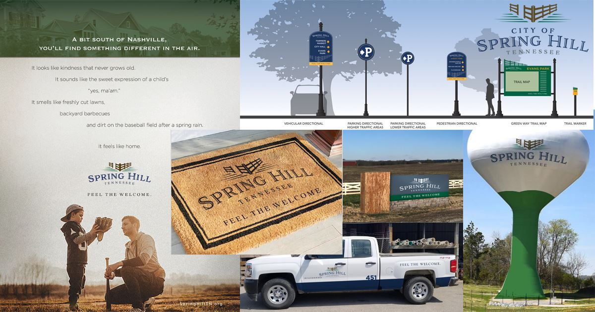 Branding Photo Collage of images from the branding update presentation on October 7, 2019