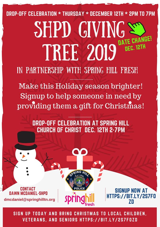 The Spring Hill Police Department's annual Christmas Giving Tree