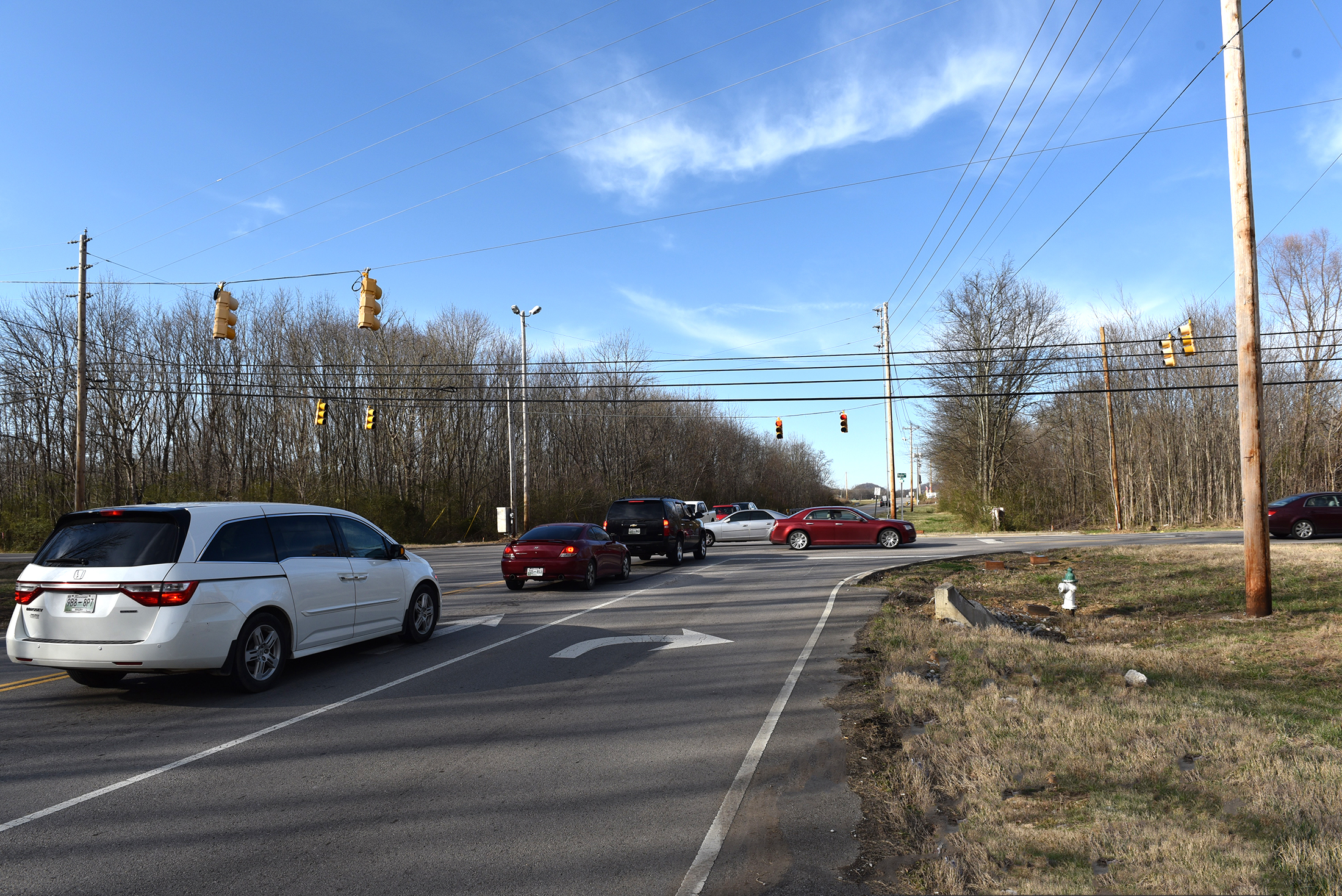Traffic signal at Duplex Road and Miles Johnson Parkway